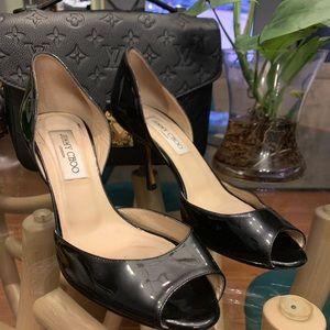 Jimmy choo patent leather peep toe heel pump